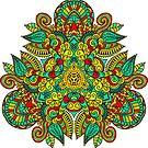 Mandala in triangle, autumn leaves by artherapieca