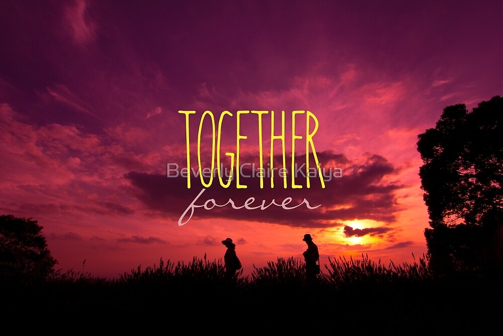 Together Forever Couple on Lavender Field Sunset by Beverly Claire Kaiya