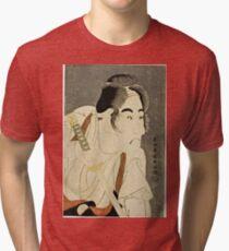 Toshusai Sharaku - The Actor Bando Mitsugoro Ii As Ishii Genzo1794  Tri-blend T-Shirt