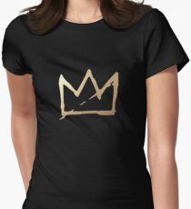 Gold Basquiat Crown Womens Fitted T-Shirt