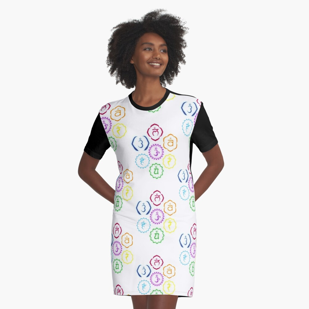 The 7 Main Chakras in a Circle Graphic T-Shirt Dress Front