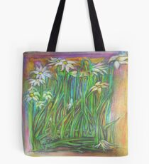 Flowers in the Garden at Sunset Tote Bag