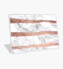 Modern chic faux rose gold brush stripes white marble Laptop Skin