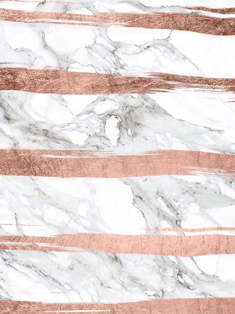 Moderner Chic-Imitat-Rosen-Goldpinsel streift weißen Marmor von GirlyTrend