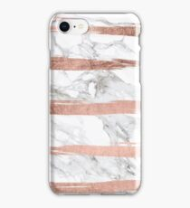 Modern chic faux rose gold brush stripes white marble iPhone Case/Skin
