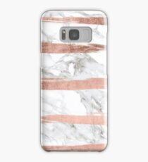 Modern chic faux rose gold brush stripes white marble Samsung Galaxy Case/Skin