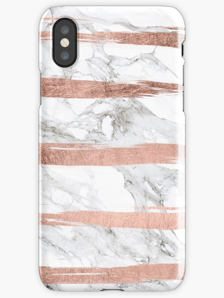 Modern chic faux rose gold brush stripes white marble by GirlyTrend