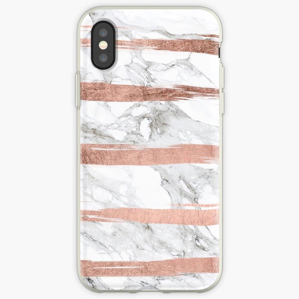 Moderner Chic-Imitat-Rosen-Goldpinsel streift weißen Marmor iPhone-Hülle & Cover