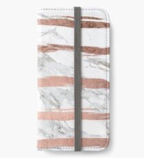 Modern chic faux rose gold brush stripes white marble iPhone Wallet/Case/Skin