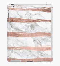 Modern chic faux rose gold brush stripes white marble iPad Case/Skin