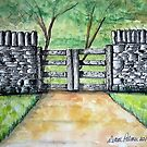 Dry Stack Old Stone Wall Ink and Watercolor Painting by DianePalmerArt