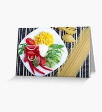 Vegetarian dish of raw vegetables and mozzarella  Greeting Card