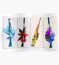 CS:GO Watercolor weapons Poster