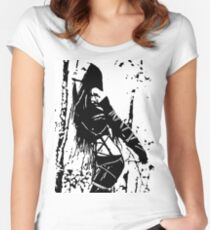 Sexy Goth Girl in Shibari Bondage Pose, black and white Women's Fitted Scoop T-Shirt
