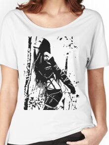 Sexy Goth Girl in Shibari Bondage Pose, black and white Women's Relaxed Fit T-Shirt