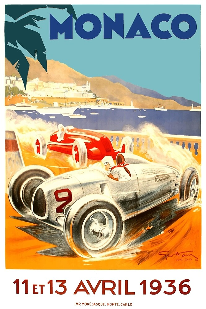 1936 Monaco Grand Prix Race Poster by retrographics