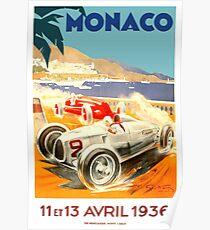 1936 Monaco Grand Prix Rennen Poster Poster