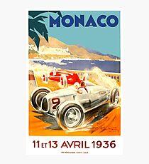 Lámina fotográfica Cartel de la carrera de Grand Prix de 1936 de Mónaco
