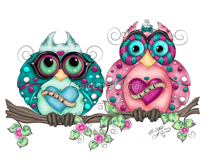 """Spring Fling Owl Pair"" by Concetta Kilmer 