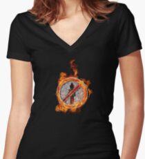 Travis Scott No Bystanders Chain Women's Fitted V-Neck T-Shirt