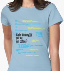 Code Monkey Get Coffee Womens Fitted T-Shirt