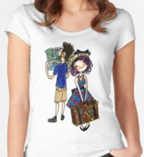 Travel Couple Watercolor Sticker or Shirt Women's Fitted Scoop T-Shirt