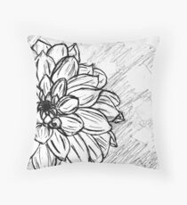 Black and White Flower Petals Throw Pillow