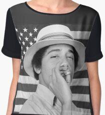 Young Obama smoking with American Flag Women's Chiffon Top