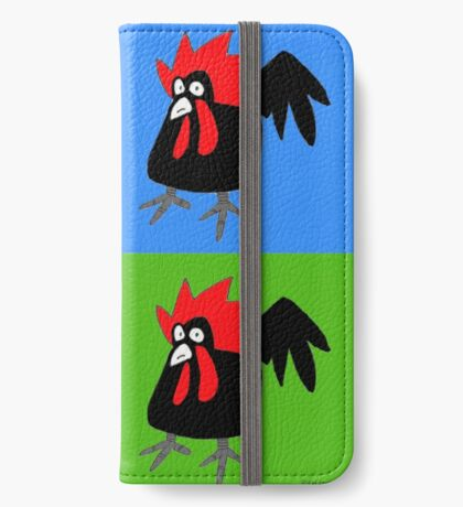 Funky and Cute Chicken Pop Art iPhone Wallet