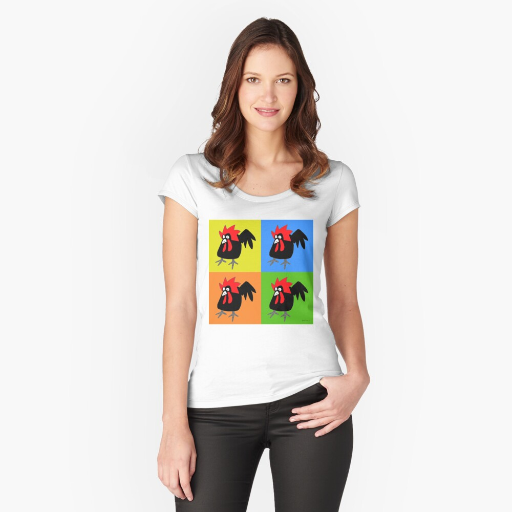 Funky and Cute Chicken Pop Art Fitted Scoop T-Shirt