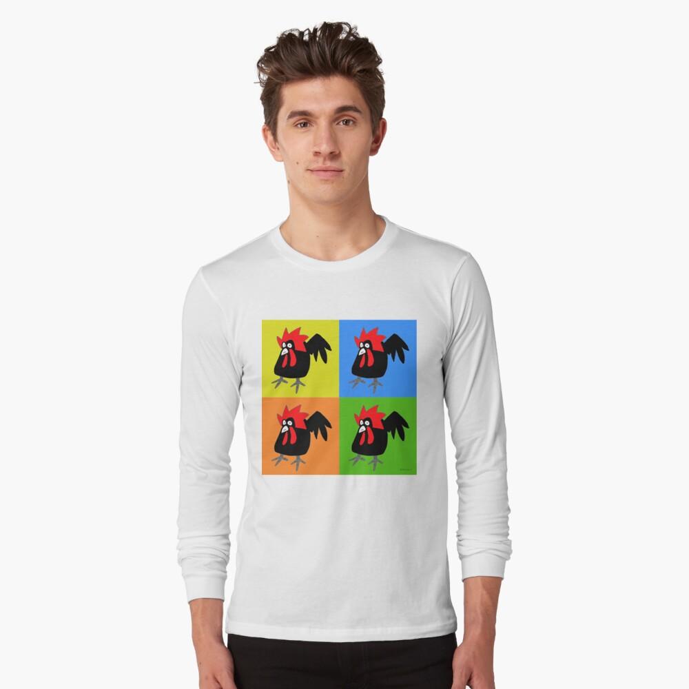Funky and Cute Chicken Pop Art Long Sleeve T-Shirt