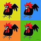 Funky and Cute Chicken Pop Art by eddcross