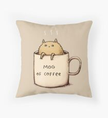 Mog of Coffee Throw Pillow