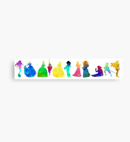11 Princesses Inspired Silhouette Canvas Print