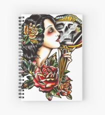 Traditional Girl Tattoo Skeleton Reflection Spiral Notebook