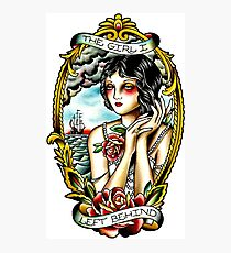 Traditional Tattoo Pin up Girl Navy Ship Photographic Print