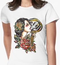 Traditional Girl Tattoo Skeleton Reflection Women's Fitted T-Shirt