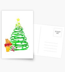 Christmas Bear and Pig Inspired Silhouette Postcards