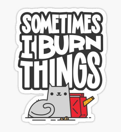 Sometimes I Burn Things Cat Sticker