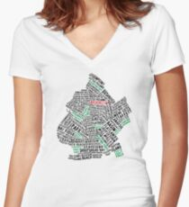 Brooklyn New York Typography Map Women's Fitted V-Neck T-Shirt