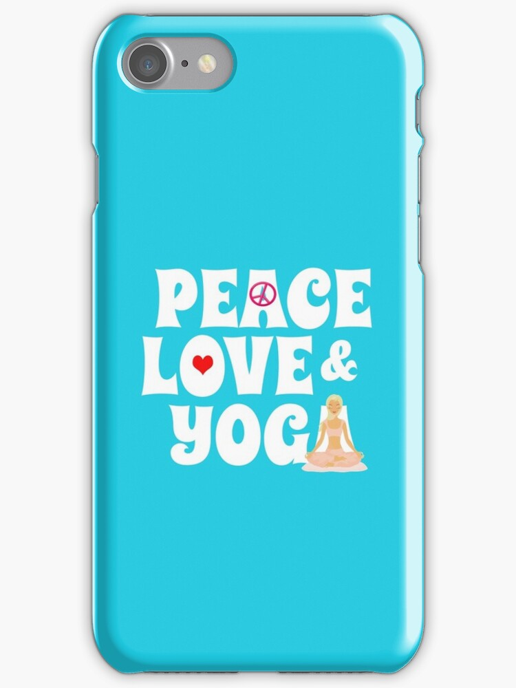 Peace, Love, Yoga Case - Burgundy by JessDesigns