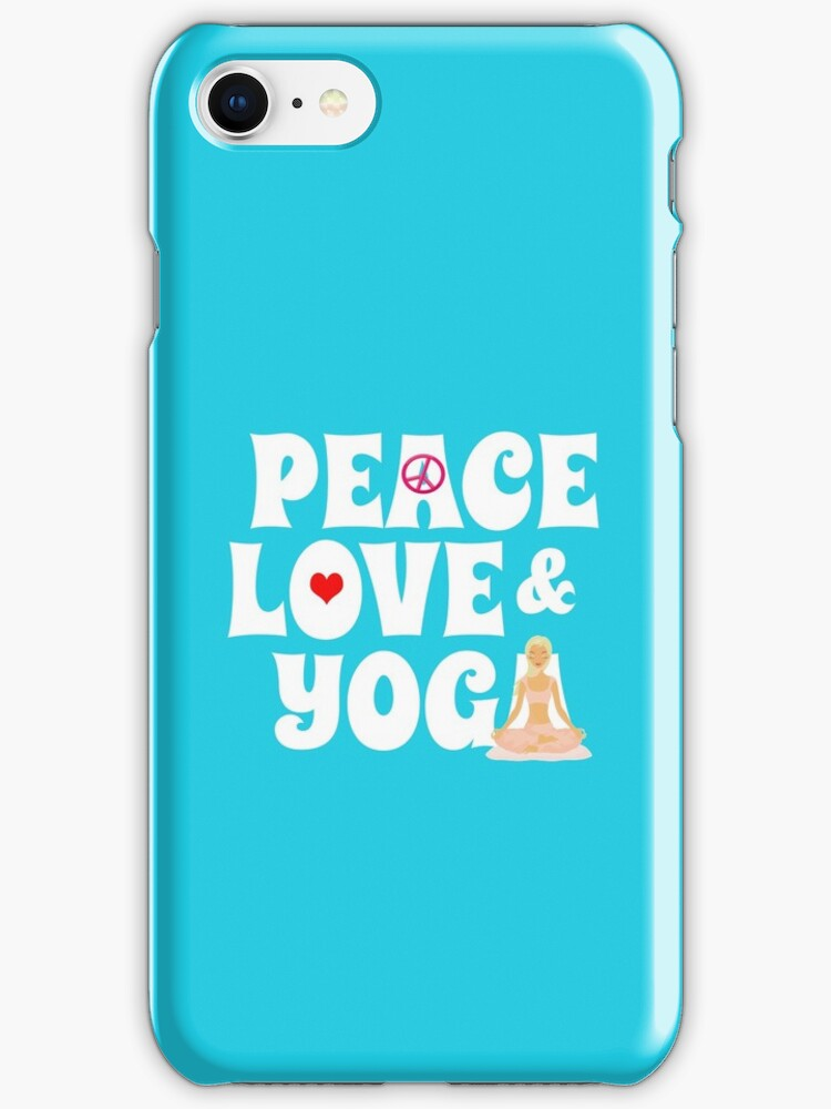 Peace, Love, Yoga Case - Burgundy by JessDesigns