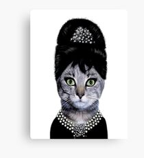 hepburn cat @_@# Canvas Print