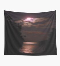 Moon over sea Wall Tapestry