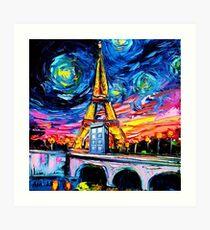 tardis starry night in the paris Art Print