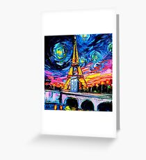 tardis starry night in the paris Greeting Card