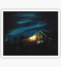 Red Barn at Dusk Sticker