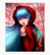 Red Riding Hood - Skater Girl in Forest Photographic Print