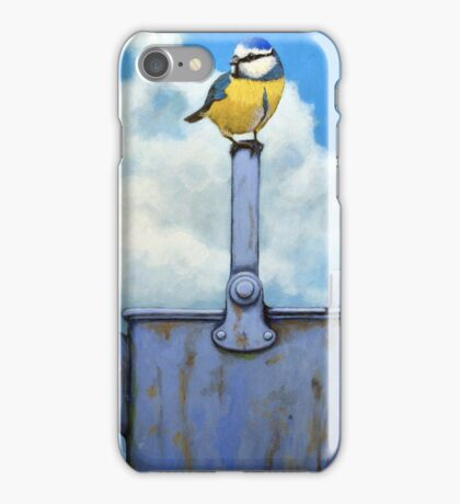 Cute Blue-Tit realistic painting bird portrait on watering can iPhone Case/Skin