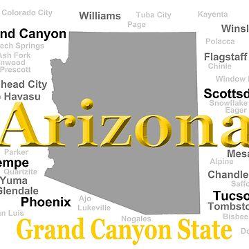 Arizona State Pride Map Silhouette  by KWJphotoart